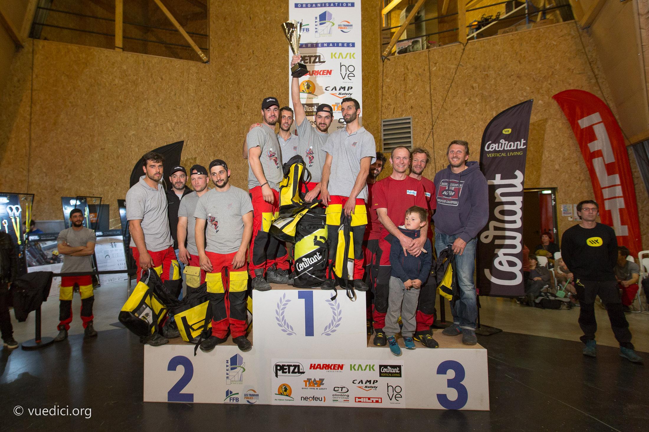 Podium des gagnants du championnat de cordiste